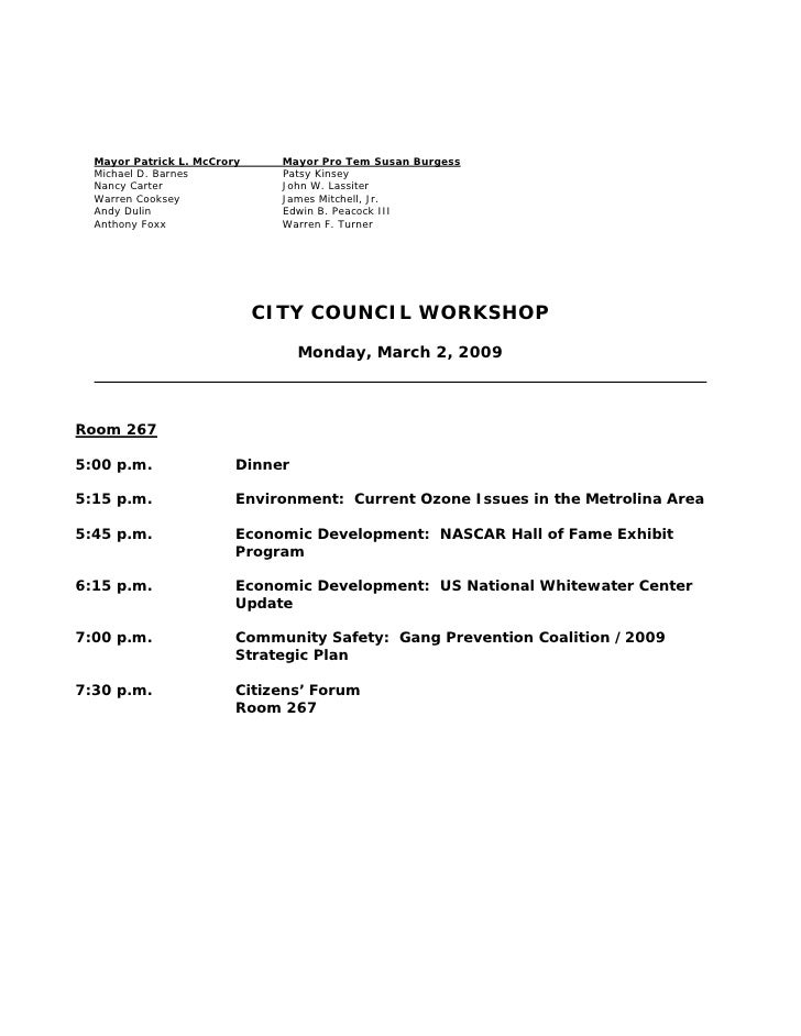 Charlotte City Council Meeting Agenda, March 2, 2009