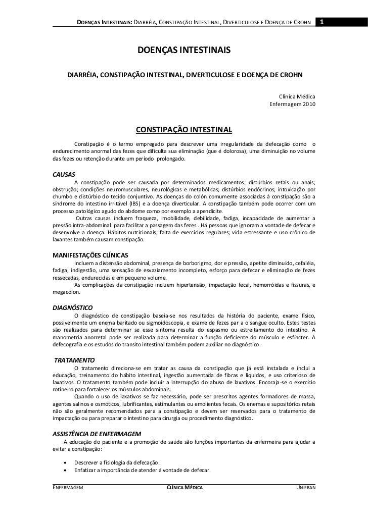 DOENÇAS INTESTINAIS: DIARRÉIA, CONSTIPAÇÃO INTESTINAL, DIVERTICULOSE E DOENÇA DE CROHN                 1                  ...