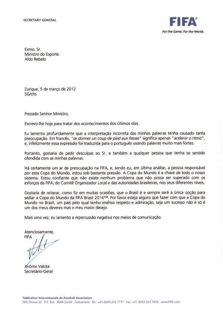 Jérôme Valcke pede desculpas ao ministro do Esporte e garante Copa 2014 no Brasil