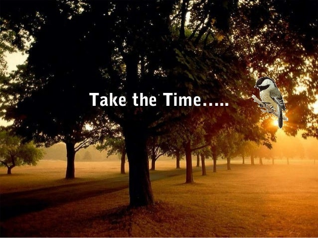 Take the TimeTake the Time…..