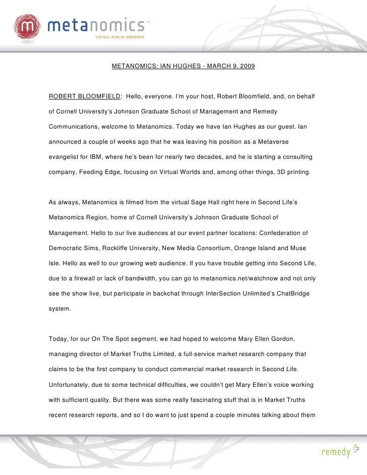 030909 Ian Hughes Metanomics Transcript