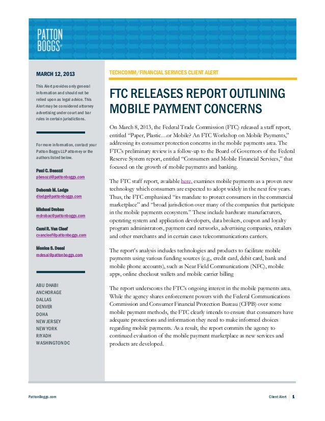 FTC Releases Report Outlining Mobile Payment Concerns