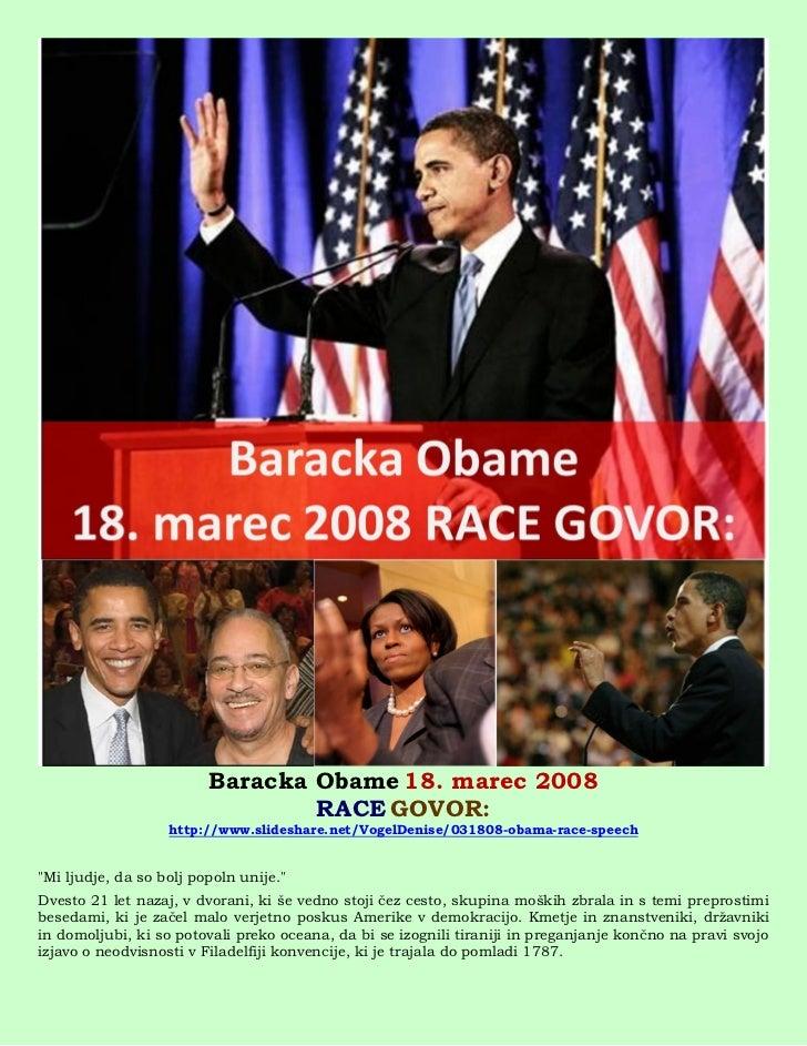 Baracka Obame 18. marec 2008                                 RACE GOVOR:                   http://www.slideshare.net/Vogel...