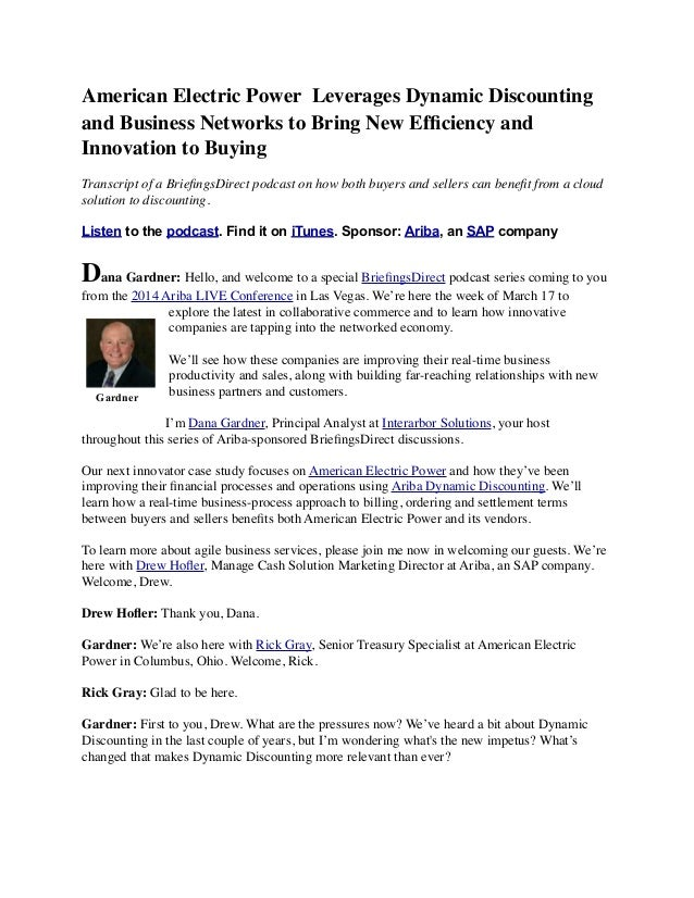 American Electric Power Leverages Dynamic Discounting and Business Networks to Bring New Efficiency and Innovation to Buying