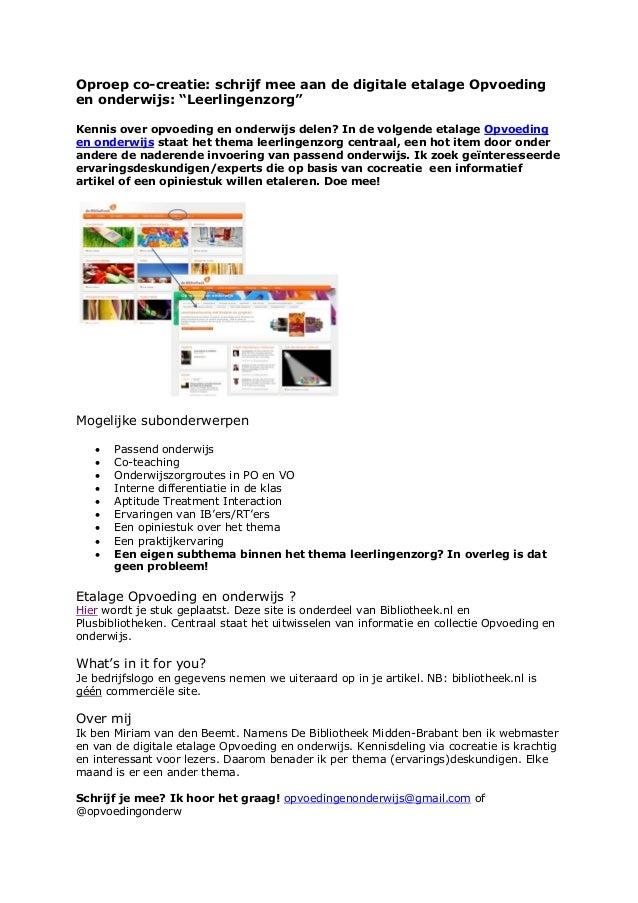 """Oproep co-creatie: schrijf mee aan de digitale etalage Opvoeding en onderwijs: """"Leerlingenzorg"""" Kennis over opvoeding en o..."""
