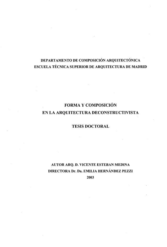 DEPARTAMENTO DE COMPOSICIÓN ARQUITECTÓNICA ESCUELA TÉCNICA SUPERIOR DE ARQUITECTURA DE MADRID FORMA Y COMPOSICIÓN EN LA AR...