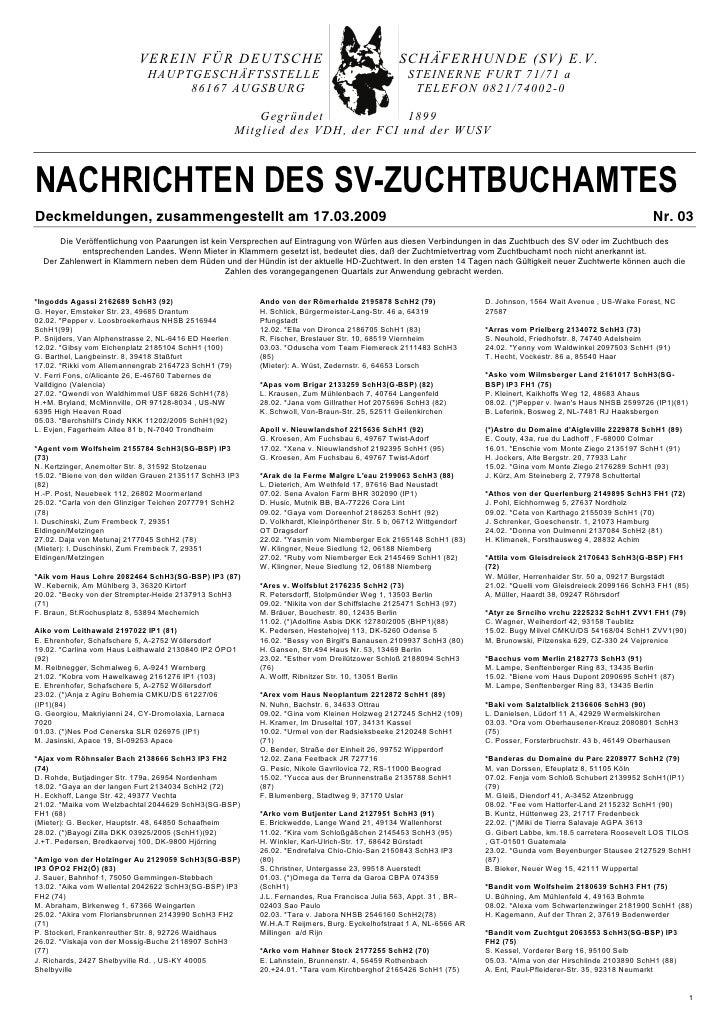 VEREIN FÜR DEUTSCHE                                                  SCHÄFERHUNDE (SV) E.V.                              H...