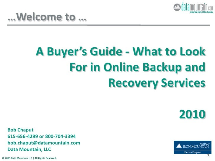 A Buyer\'s Guide - What to look for in online backup and recovery services - 2010