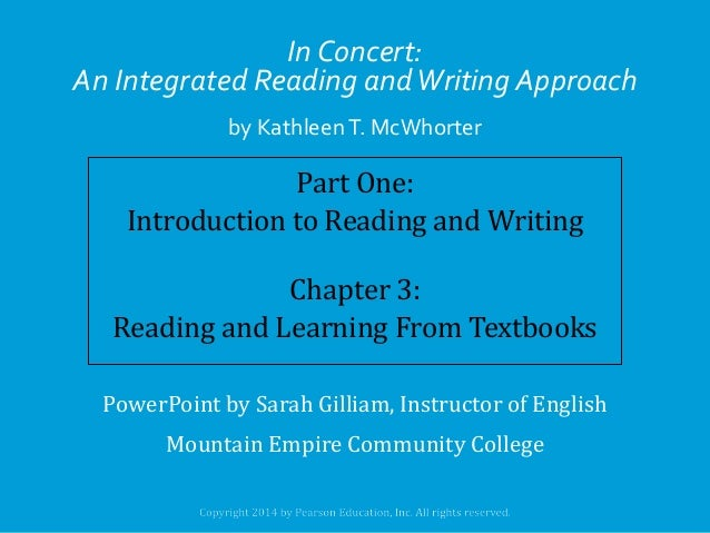 In Concert: An Integrated Reading and Writing Approach by Kathleen T. McWhorter  Part One: Introduction to Reading and Wri...