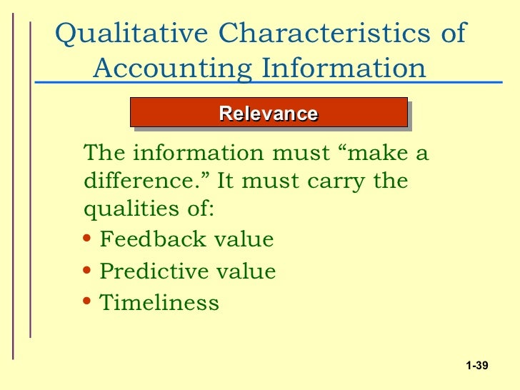 evaluating the qualitative characteristics of accounting Evaluate changes in financial accounting standards and in other institutions, such  as  avoid defining quality, but list a number of qualitative characteristics that.