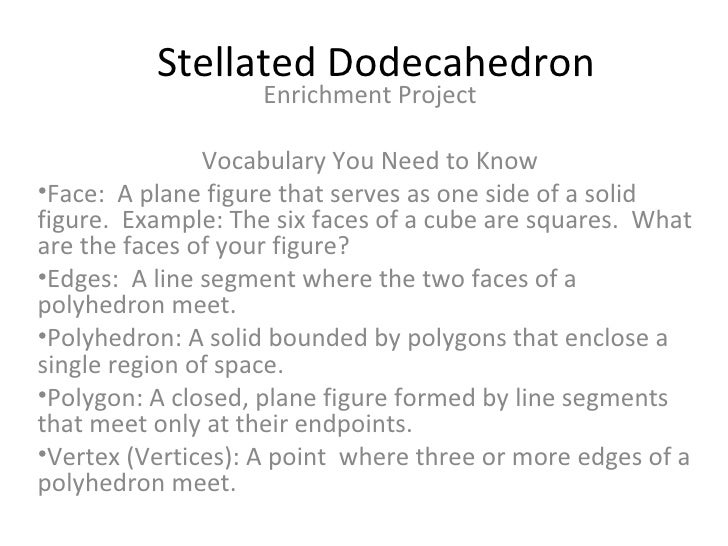Stellated Dodecahedron <ul><li>Enrichment Project </li></ul><ul><li>Vocabulary You Need to Know </li></ul><ul><li>Face:  A...