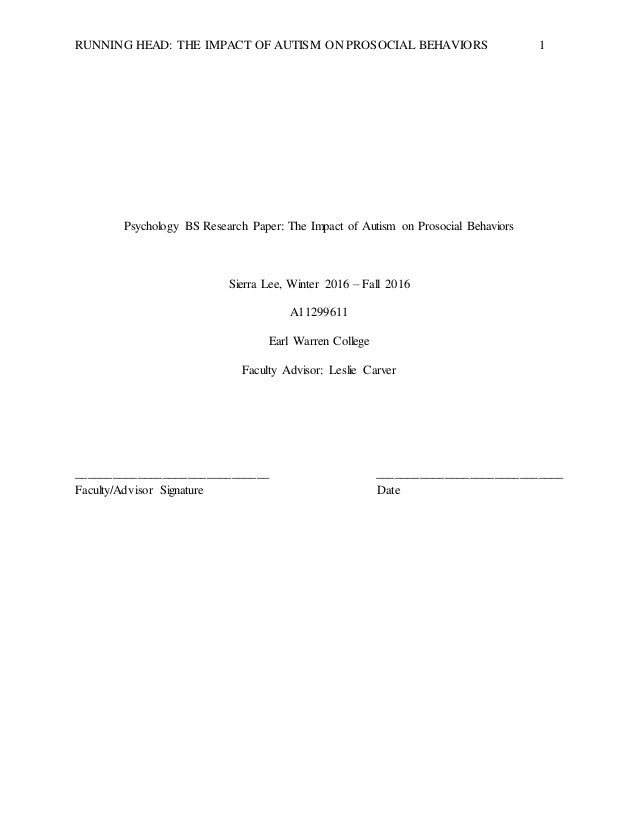 Psychology autism research paper