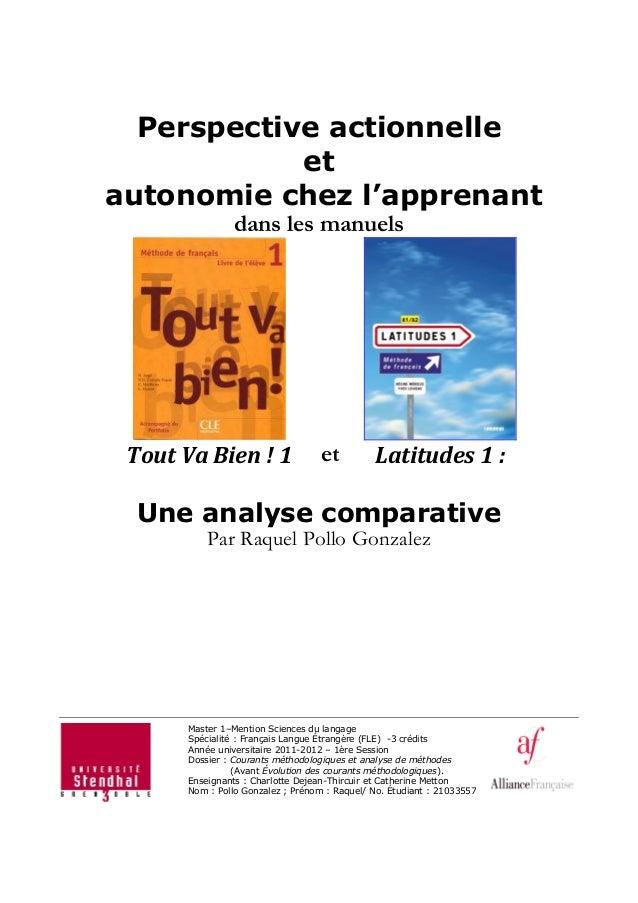 Perspective actionnelle et autonomie chez l'apprenant dans les manuels Tout Va Bien ! 1 et Latitudes 1 : Une analyse compa...