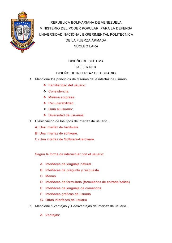REPÚBLICA BOLIVARIANA DE VENEZUELA       MINISTERIO DEL PODER POPULAR PARA LA DEFENSA       UNIVERSIDAD NACIONAL EXPERIMEN...