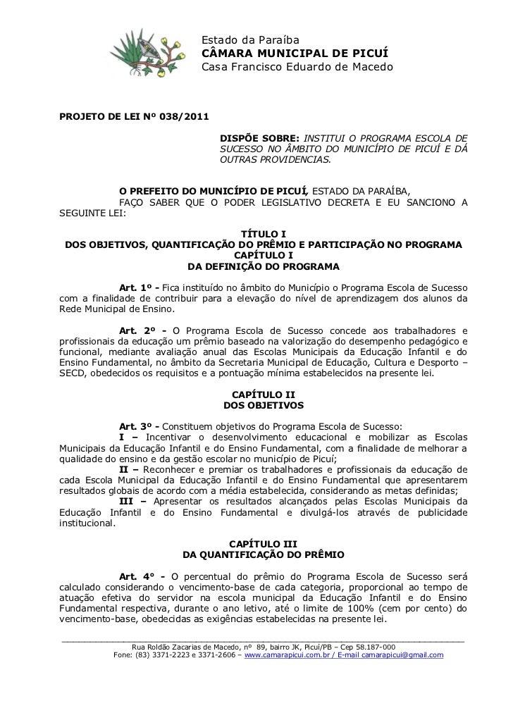 Estado da Paraíba                                  CÂMARA MUNICIPAL DE PICUÍ                                  Casa Francis...