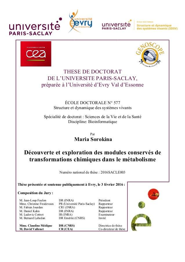 THESE DE DOCTORAT DE L'UNIVERSITE PARIS-SACLAY, préparée à l'Université d'Evry Val d'Essonne ÉCOLE DOCTORALE N° 577 Struct...