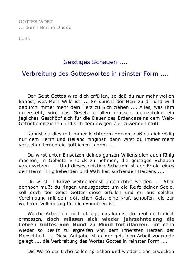 GOTTES WORT ... durch Bertha Dudde 0385 Geistiges Schauen .... Verbreitung des Gotteswortes in reinster Form .... Der Geis...