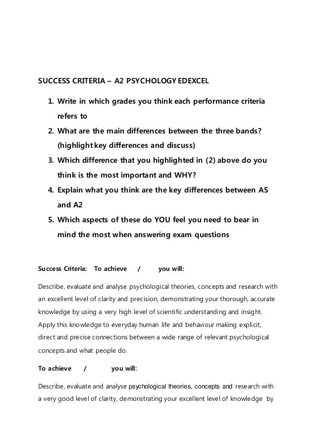 SUCCESS CRITERIA – A2 PSYCHOLOGY EDEXCEL 1. Write in which grades you think each performance criteria refers to 2. What ar...