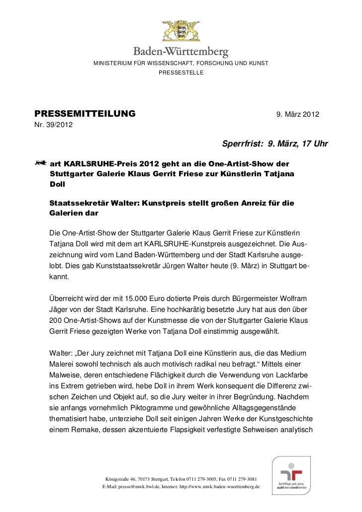 MINISTERIUM FÜR WISSENSCHAFT, FORSCHUNG UND KUNST                                              PRESSESTELLEPRESSEMITTEILUN...