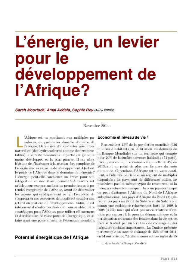 L'´energie, un levier pour le d´eveloppement de l'Afrique? Sarah Mourtada, Amal Addala, Sophie Roy Master EDDEE Novembre 2...