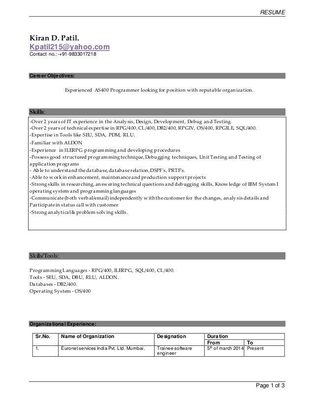28+ [ As400 Resume Samples ] | As400 Resume Samples Accounting ...