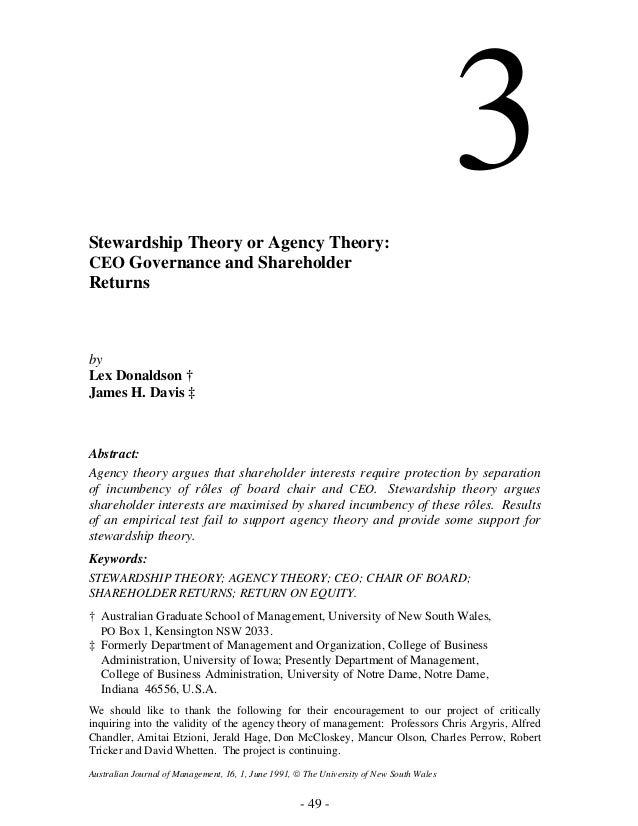 stewardship theory of corporate governance pdf