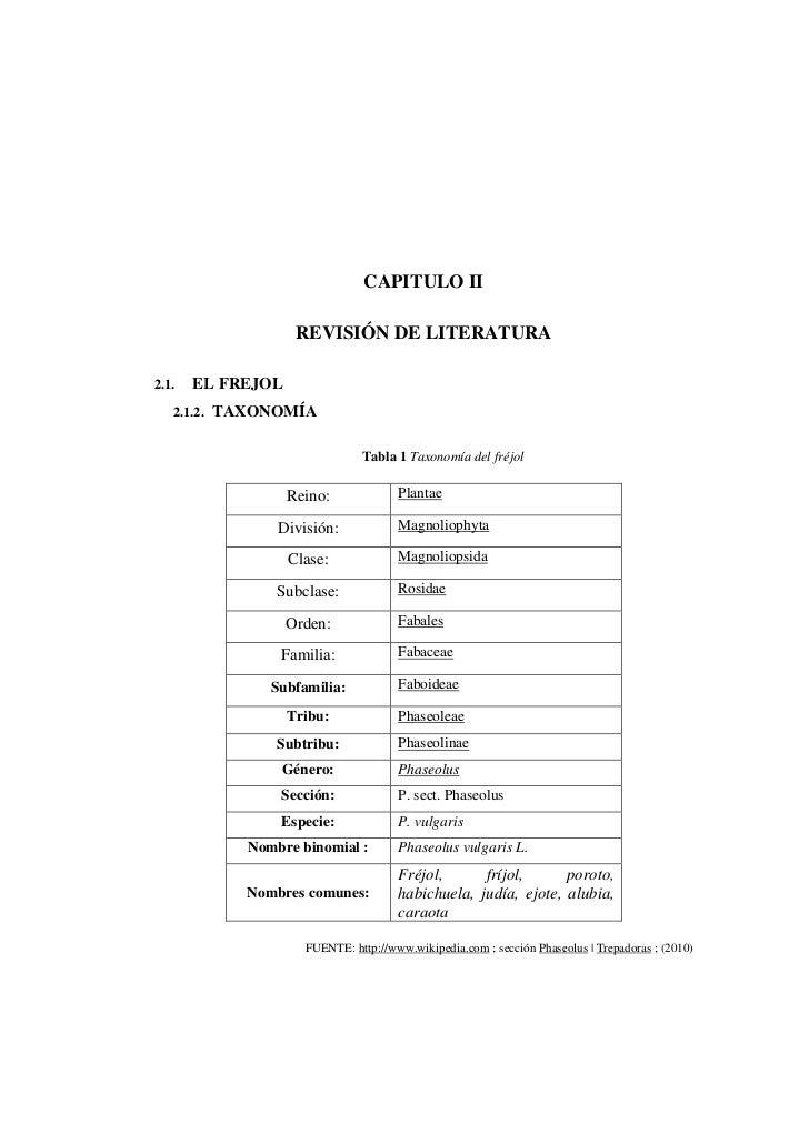 CAPITULO II                    REVISIÓN DE LITERATURA2.1.   EL FREJOL   2.1.2. TAXONOMÍA                               Tab...