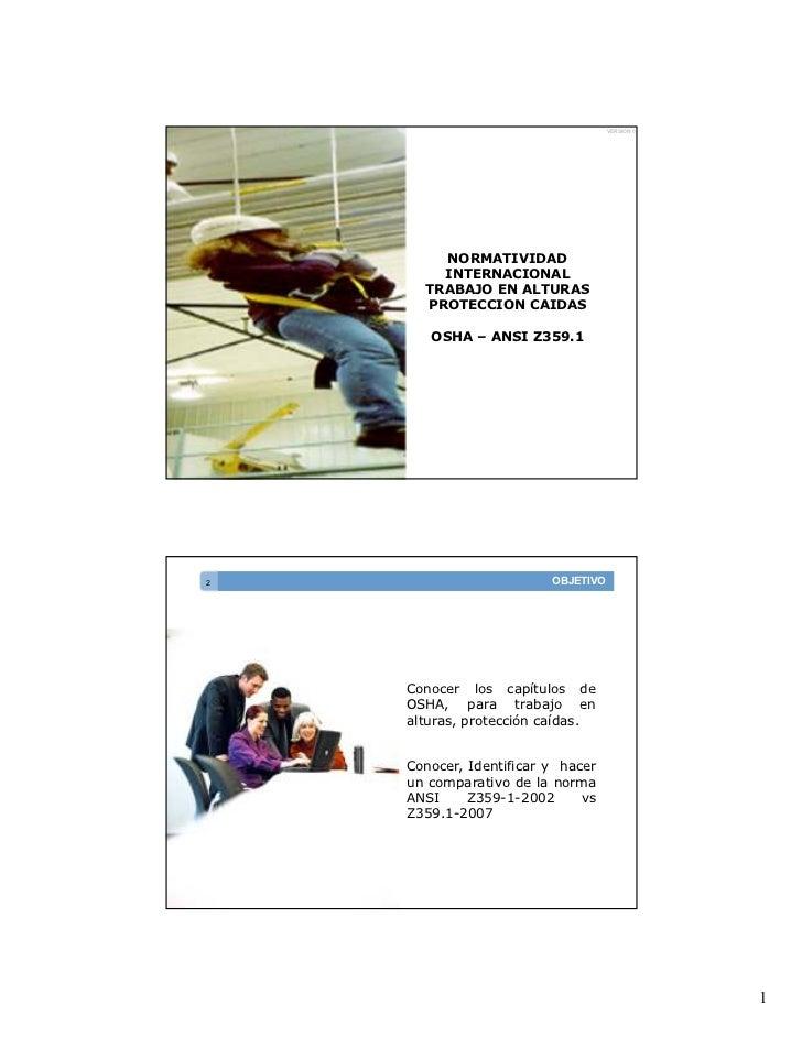 VERSION 0        NORMATIVIDAD        INTERNACIONAL      TRABAJO EN ALTURAS      PROTECCION CAIDAS       OSHA – ANSI Z359.1...