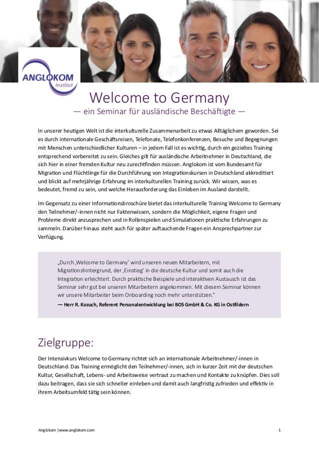 Welcome to Germany — ein Seminar für ausländische Beschä9igte —   In  unserer  heu)gen  Welt  ist  ...