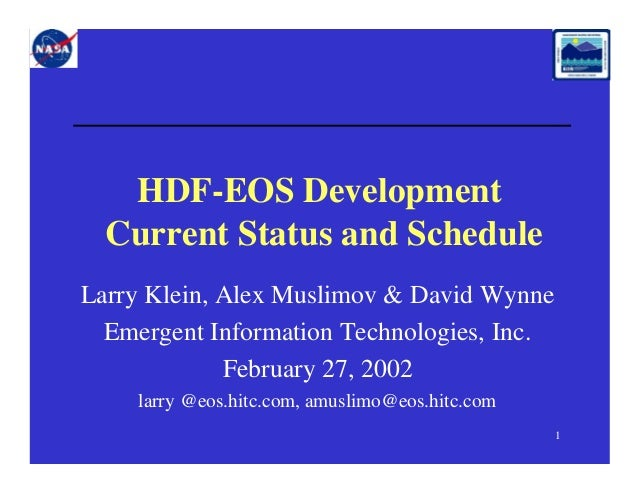 HDF-EOS Development - Current Status and Schedule