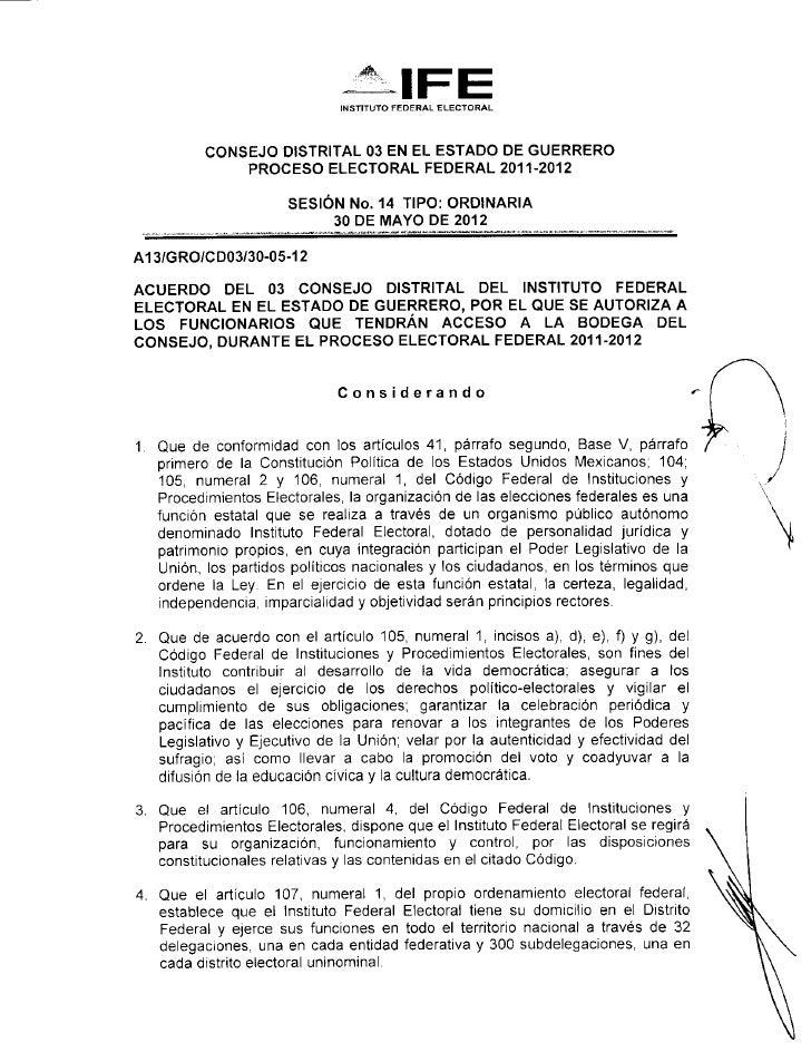 INSTITUTO FEDERAL ELECTORAL          CONSEJO DISTRITAL 03 EN EL ESTADO DE GUERRERO              PROCESO ELECTORAL FEDERAL ...