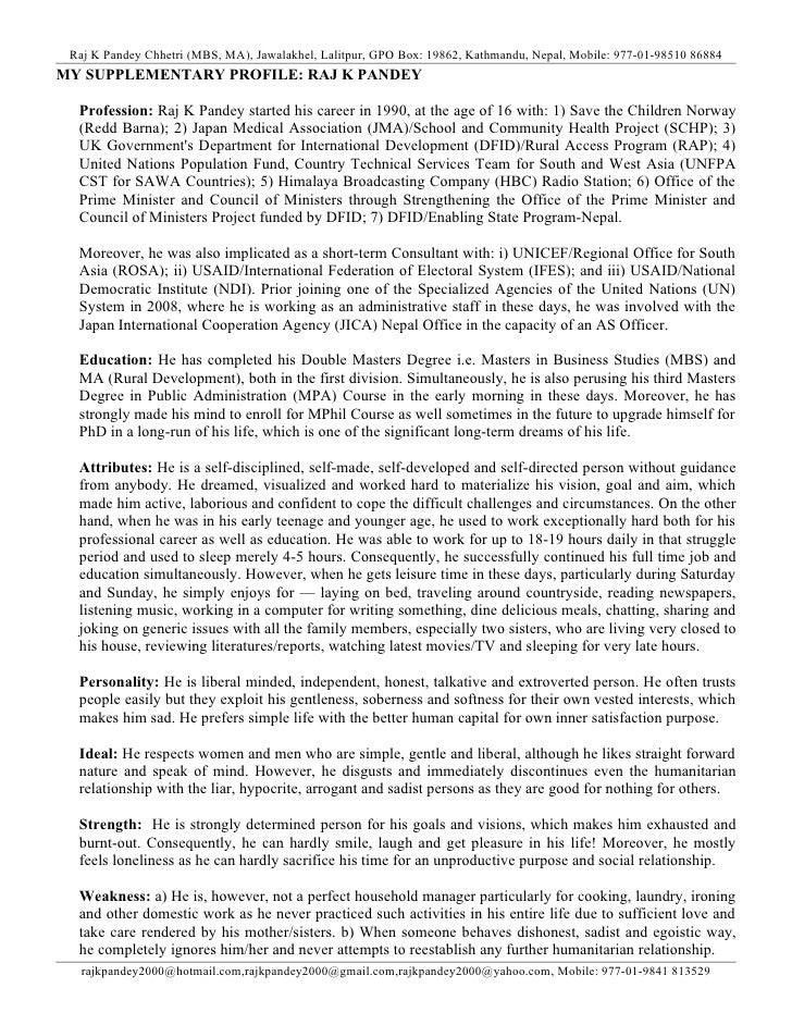 Raj K Pandey Chhetri (MBS, MA), Jawalakhel, Lalitpur, GPO Box: 19862, Kathmandu, Nepal, Mobile: 977-01-98510 86884MY SUPPL...
