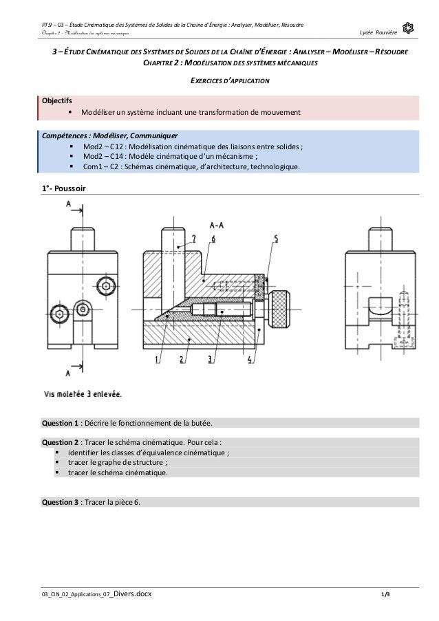 PTSI – 03 – Étude Cinématique des Systèmes de Solides de la Chaine d'Énergie : Analyser, Modéliser, Résoudre Lycée Rouvièr...