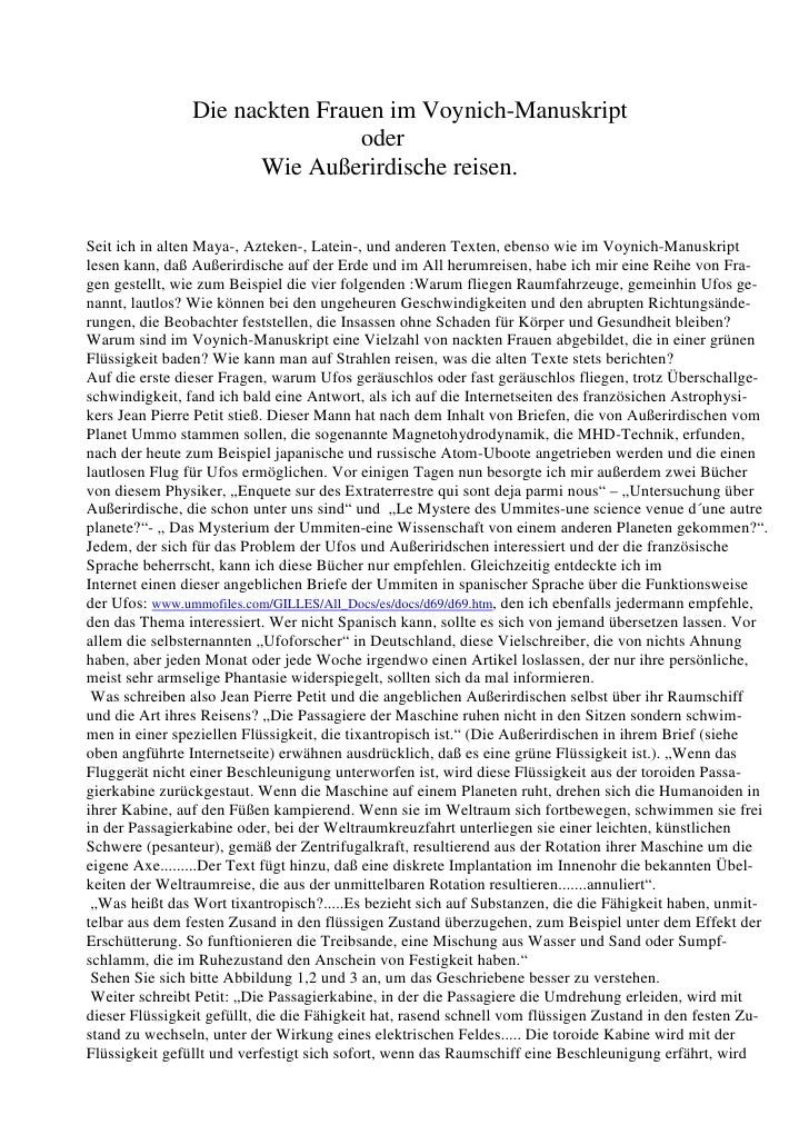 Die nackten Frauen im Voynich-Manuskript                                oder                      Wie Außerirdische reisen...