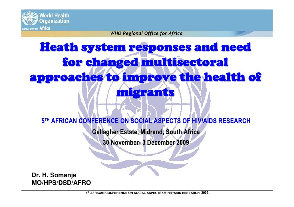 WHO Regional Office for Africa    Heath system responses and need     for changed multisectoral approaches to improve the ...