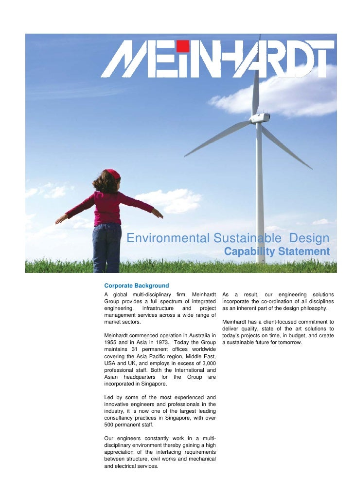 Environmental Sustainable Design                                                   Capability Statement   Corporate Backgr...