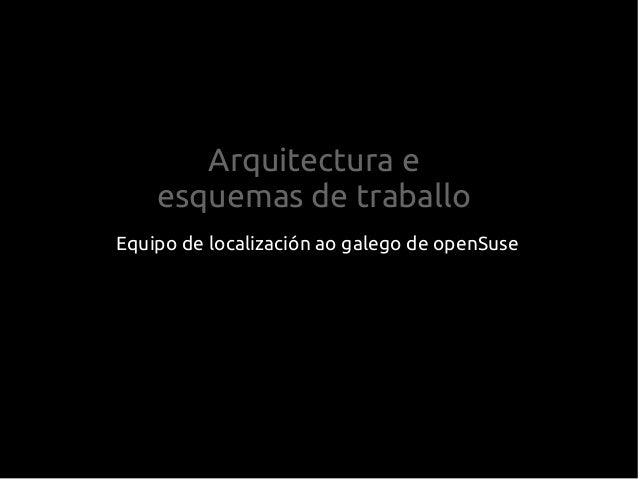 Arquitectura e esquemas de traballo Equipo de localización ao galego de openSuse