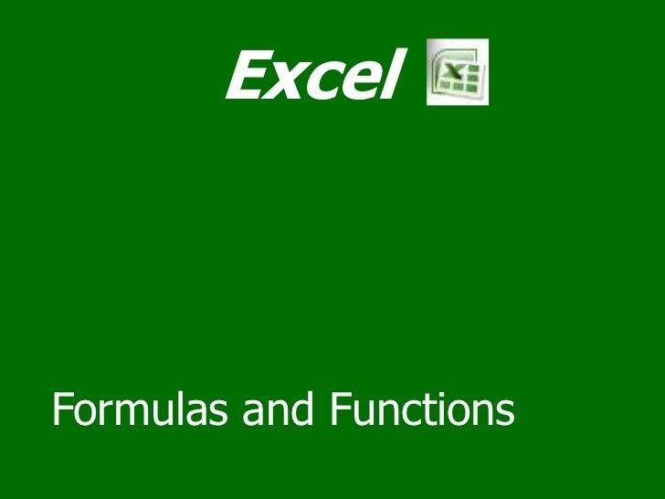 ExcelFormulas and Functions