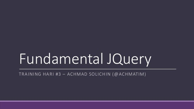 Fundamental JQuery