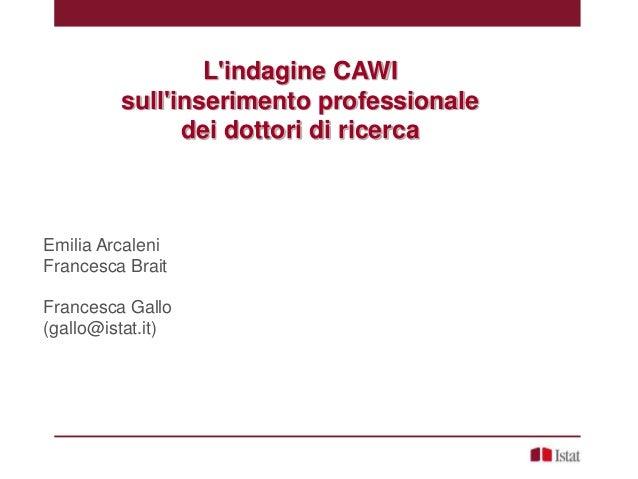 E. Arcaleni,  F. Brait,  F. Gallo - L'indagine CAWI sull'inserimento professionale dei dottori di ricerca