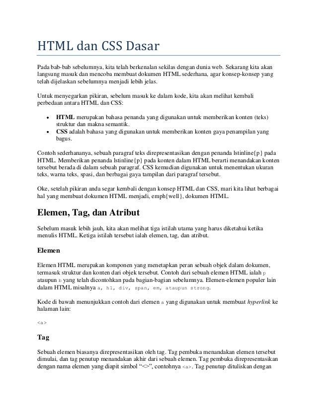 webdesign dasar : 03 html dan css dasar
