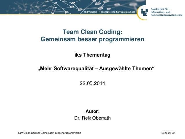 Mehr Softwarequalität: Team Clean Coding