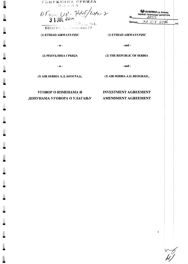 03 investment agreement amendment agreement rs_etihad_air serbia_31_jul14