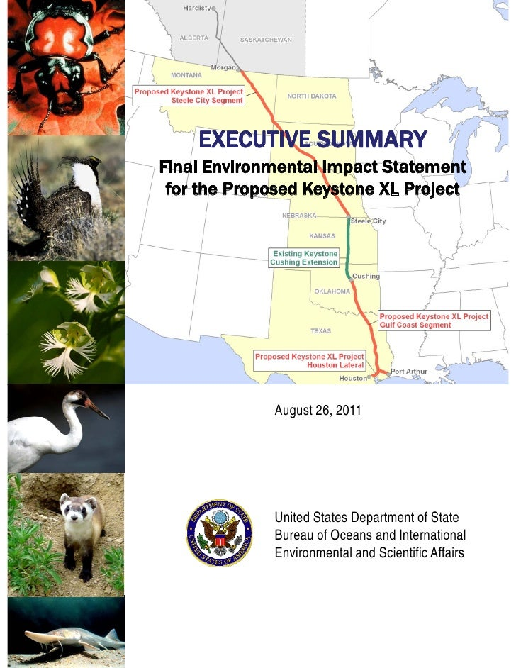 EXECUTIVE SUMMARYFinal Environmental Impact Statement for the Proposed Keystone XL Project             August 26, 2011    ...