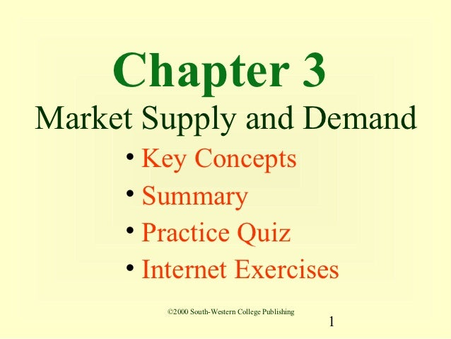 Chapter 3Market Supply and Demand     • Key Concepts     • Summary     • Practice Quiz     • Internet Exercises        ©20...