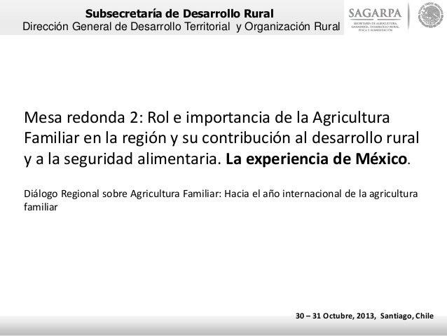 Subsecretaría de Desarrollo Rural Dirección General de Desarrollo Territorial y Organización Rural  Mesa redonda 2: Rol e ...