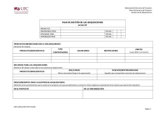 Diplomado de Dirección de Proyectos  Taller de Gerencia de Proyectos  Gestión de las Adquisiciones  PLAN DE GESTIÓN DE LAS...