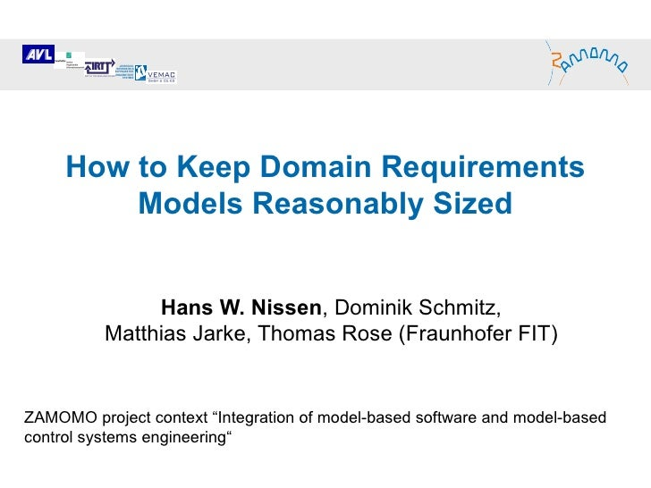 How to Keep Domain Requirements Models Reasonably Sized Hans W. Nissen , Dominik Schmitz,  Matthias Jarke, Thomas Rose (Fr...