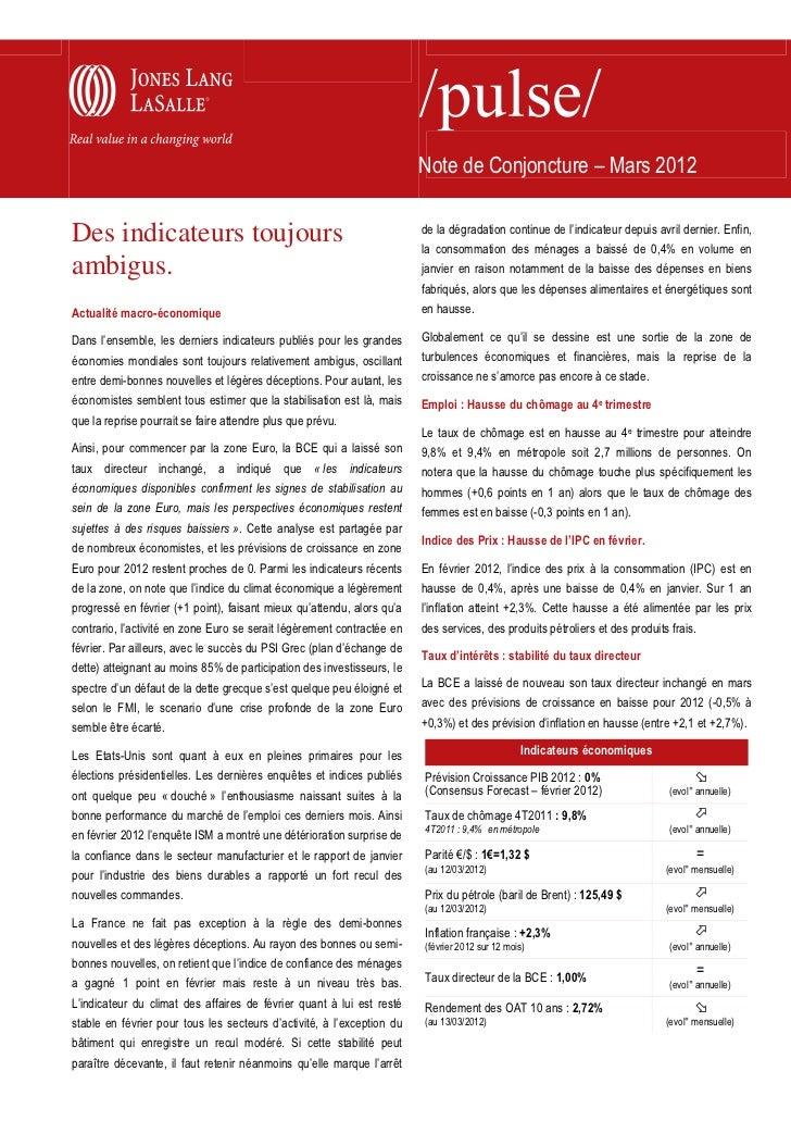 Note de Conjoncture – Mars 2012                                                                        de la dégradation c...