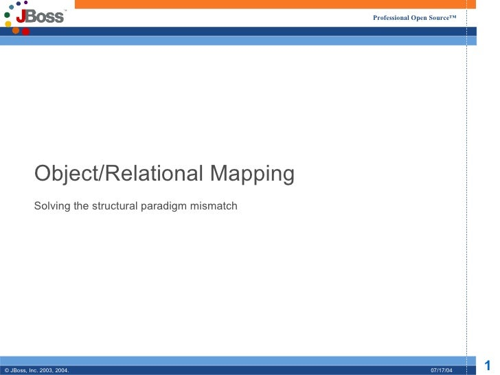 Object/Relational Mapping Solving the structural paradigm mismatch